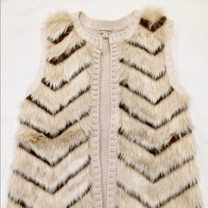 Faux Fur Vest with Knitted Back